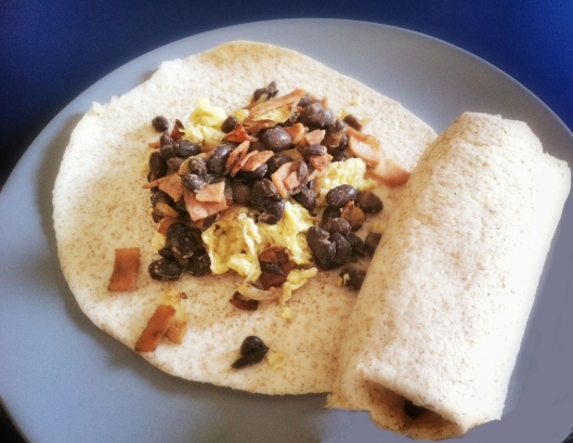 Image of Breakfast burrito with turkey bacon