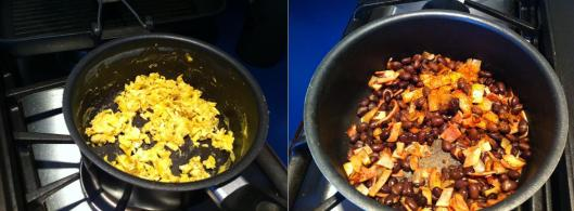image of Cooking the eggs and add the black beans