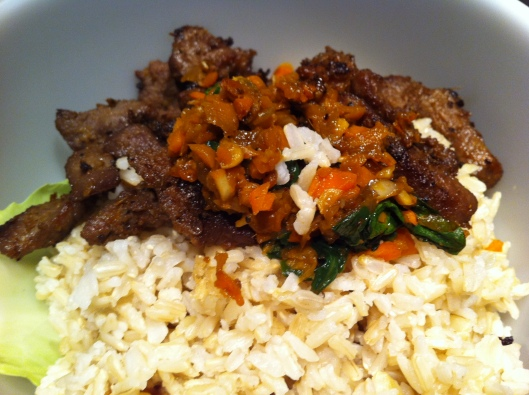 Image of Pan seared beef with sautéed carrots, and steamed rice & cabbage