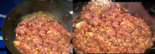 image of Cooking the minced meat and daal