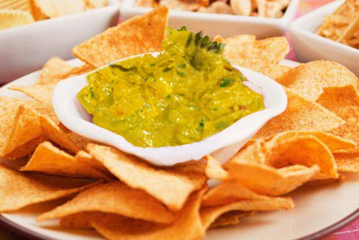Image of Corn chips with guacamole