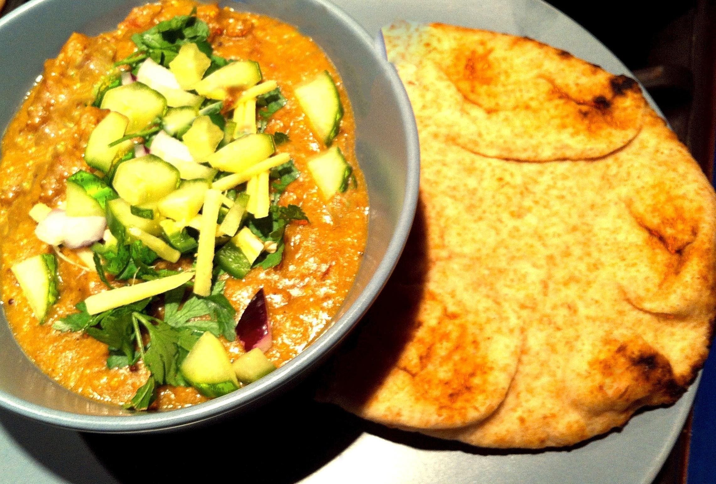 Haleem tastes delicious with naan bread