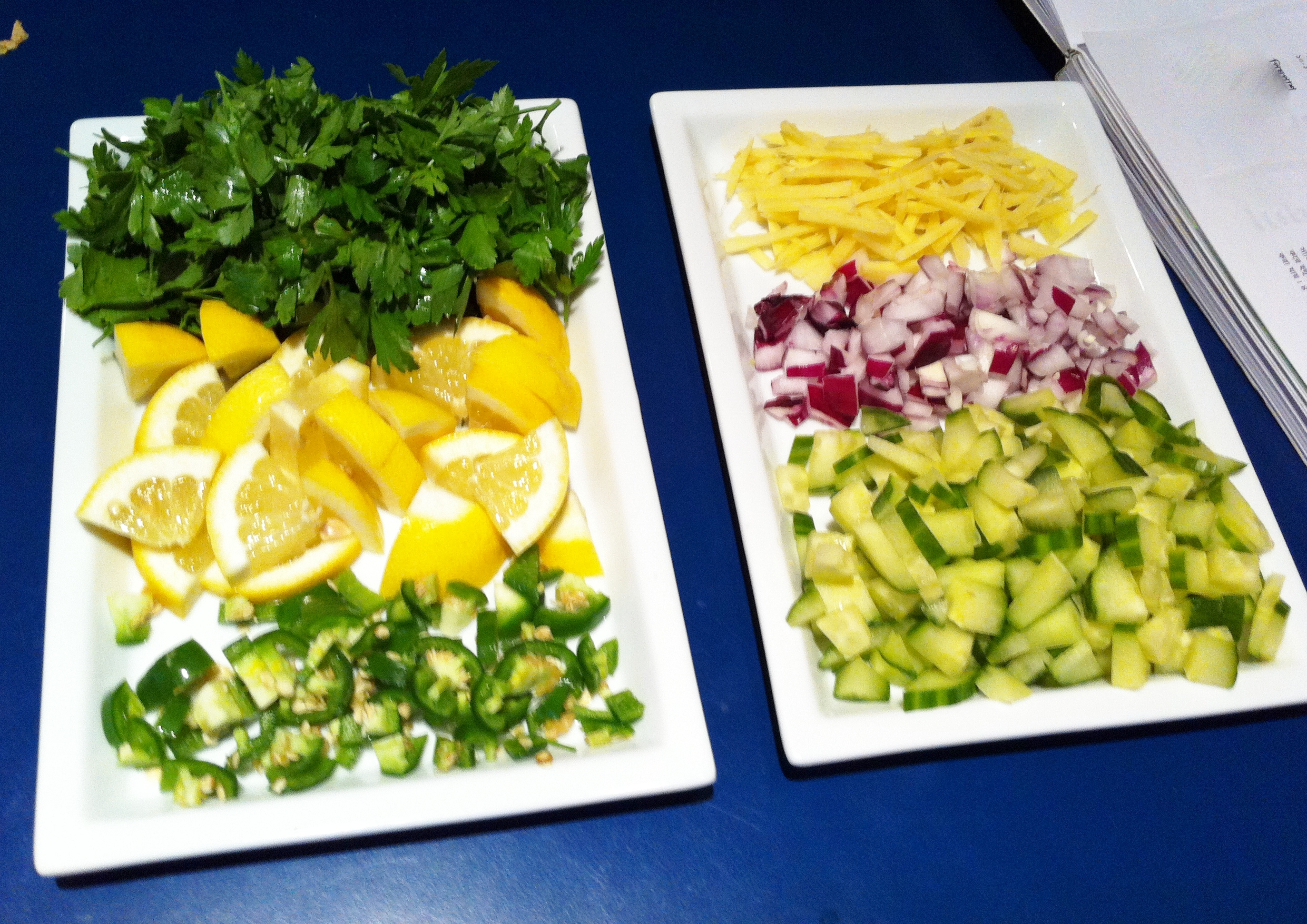 Cilantro leaves Ginger, cut into matchsticks Chilies Cucumber Onions Lemon/lime