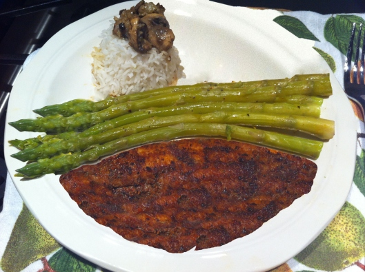 Image of Cajun fish with rice & asparagus