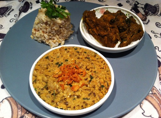Image of Begun bhortha served with rice & Chicken curry