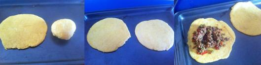 Scooping meat mixture into Jamaican patty dough