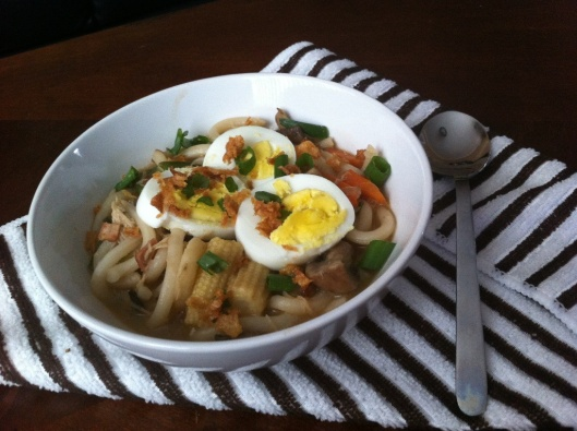 Udon Noodles with chicken, mushrooms, bacon