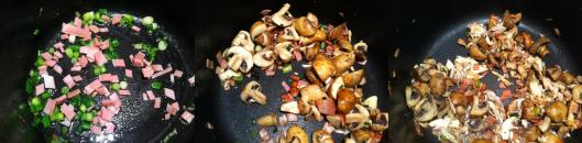 Scallions, mushrooms and bacon