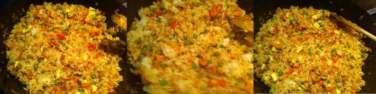 fried rice with bacon in wok