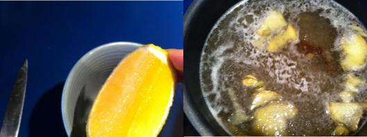 squeezing lemon in tea