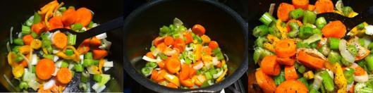 Frresh vegetables in soup pot