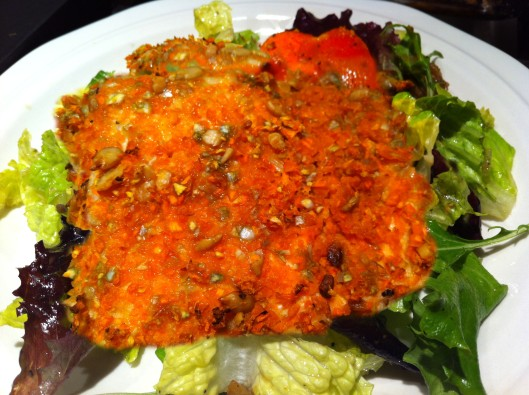 Wasabi carrots and sunflower seeds encrusted salmon fillets
