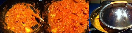 Coating chicken in tomato sauce