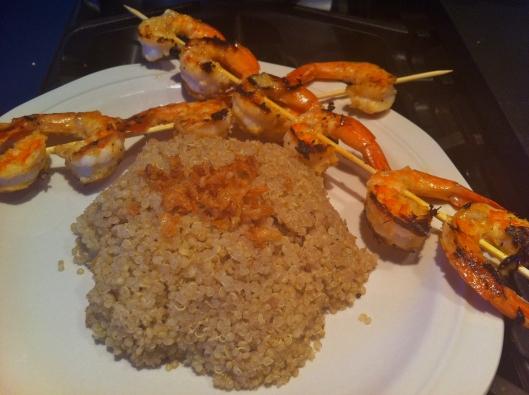 shrimp skewers with quinoa pilaf