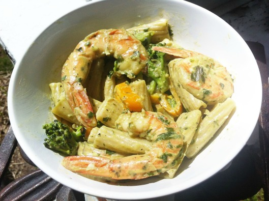 Shrimp in pesto sauce with penne pasta