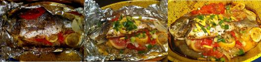Sea bream with tomatoes and lemons