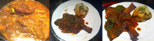 Lamb shanks with potato mash