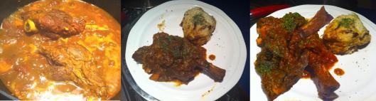 Lamb shanks with potato mash