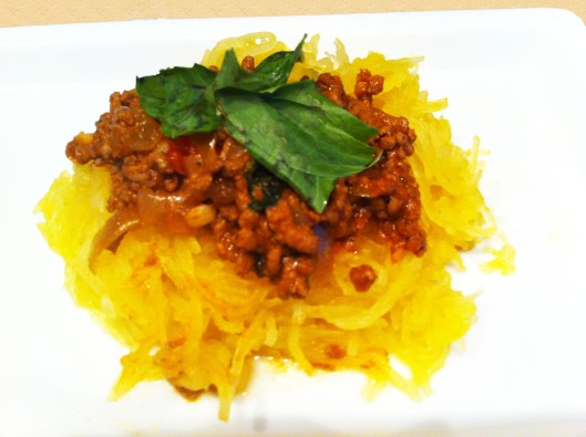 Beef with spaghetti squash