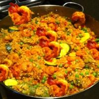 Okra, Zucchini & Shrimp Paella