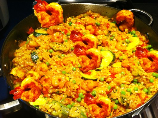shrimp paella with vegetables