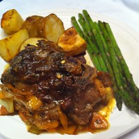Garlic braised lamb chops