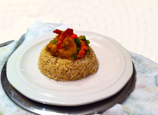 shrimp curry on brown rice