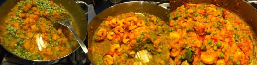 Simmering shrimp curry
